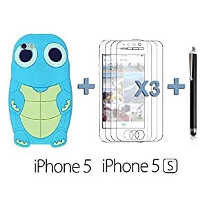 OnlineBestDigital - Turtle Style 3D Silicone Case for Apple iPhone 5S / Apple iPhone 5 - Light Blue with 3 Screen Protectors and Stylus