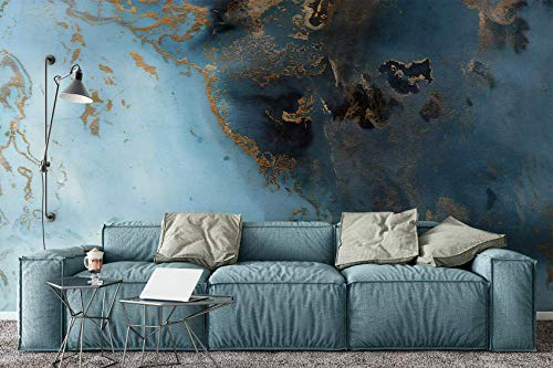 Murwall Wave Wallpaper Turquoise Gold Abstract Wall Mural Mediterranean Home Decor Cafe Design Living Room Bedroom
