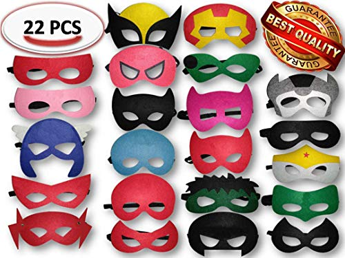 Superhero Masks and Party Favors ADJUSTABLE Multiple Sizes for Boys Girls and Adults for Birthdays Dress Up Party (22 Pieces) by GG Party Supplies