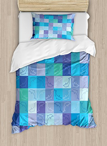 Ambesonne Sea Animals Duvet Cover Set Twin Size, Playful Dolphin Figures in Mosaic of Colored Squares Underwater Life Theme, Decorative 2 Piece Bedding Set with 1 Pillow Sham, Multicolor by Ambesonne