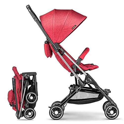 besrey Lightweight Stroller, Compact Travel Stroller with for Kids and Infant 6-36 Months, Airplane Friendly and Easy One Hand Fold Feature (Red)