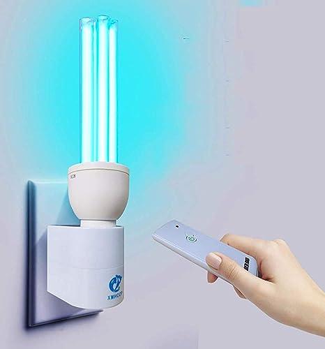 Desinfección cubierta UV-C compacto lámpara germicida UV lámpara esterilizador de ozono purificador de aire con soporte de la lámpara y el control remoto,30W ozone base remote control: Amazon.es: Hogar
