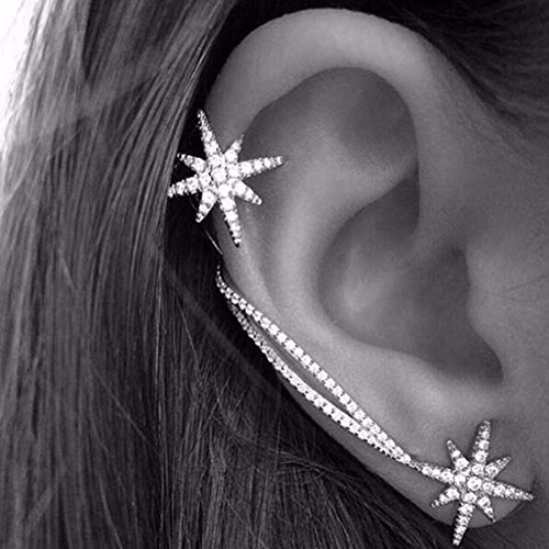 JD Million shop Fashion Women Punk Gothic Snowflake Rhinestone Clip Ear Cuff Wrap Stud Earrings For Women Jewelry