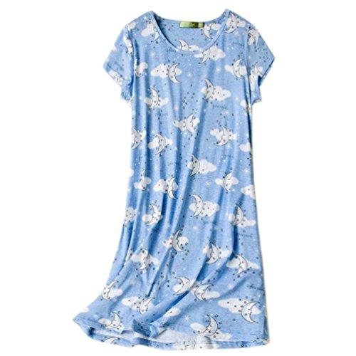 ENJOYNIGHT Women's Sleepwear Cotton Sleep Tee Short Sleeves Print Sleepshirt (Large, Moon)