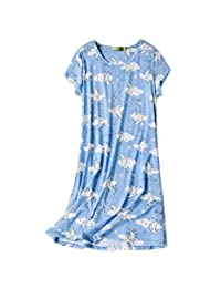 ENJOYNIGHT Women's Sleepwear Cotton Sleep Tee Short Sleeves Print Sleepshirt