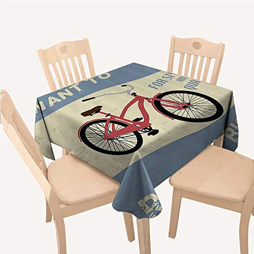 - WilliamsDecor 1960s Decorations Collection tablecloths for Kids Quality Bike Tour Joy Vintage Grunge Poster Style Quotes I Want to Ride My Bicycle Image Blue Square Tablecloth W54 xL54 inch