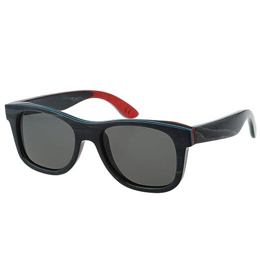 916ffd6861 MOTELAN Polarized Wood Sunglasses Layered Skateboard Wooden Frame Black
