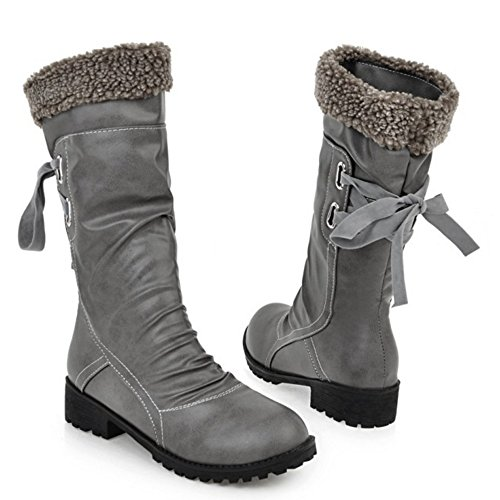 Warm TAOFFEN Lined Pull Women's Boots On Gray q88Pvp