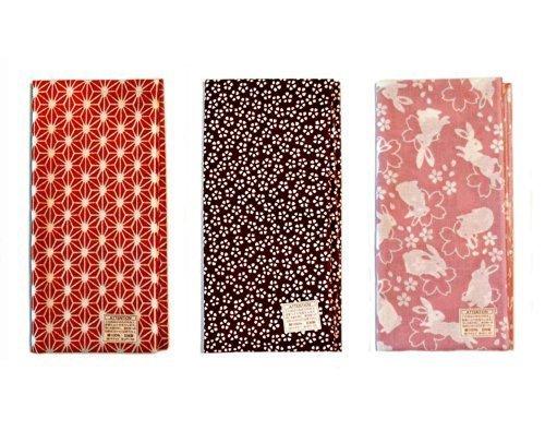 Made in Japan Komon Tenugui Towel 3 type set(Flax Leaf, Sakura, -