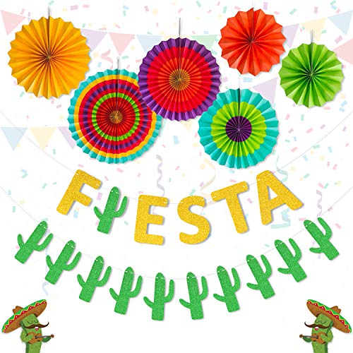 Yaaaaasss! Fiesta Banner Cacti Garlands Colorful Paper Fans Cinco De Mayo Party Supplies]()