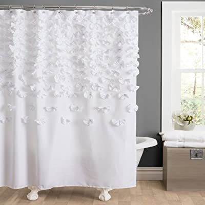 """Lush Decor Lucia 72"""" x 72"""" Shower Curtain, White - Elegant shower curtain with small flower details cascading from the top will add dimension to your bathroom. Soft, 100% polyester fabric shower curtain with a delicate, pretty and classic design to enhance your space. Lush Décor Lucia shower curtain is the ideal piece for your farmhouse style, shabby chic or vintage bathroom decor. - shower-curtains, bathroom-linens, bathroom - 51iwdRAoqyL. SS400  -"""