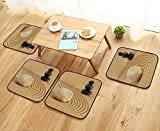 Jiahonghome Universal Chair Cushions Japanese Zen Garden in Sand with Stone Personalized Durable W15.5 x L15.5/4PCS Set