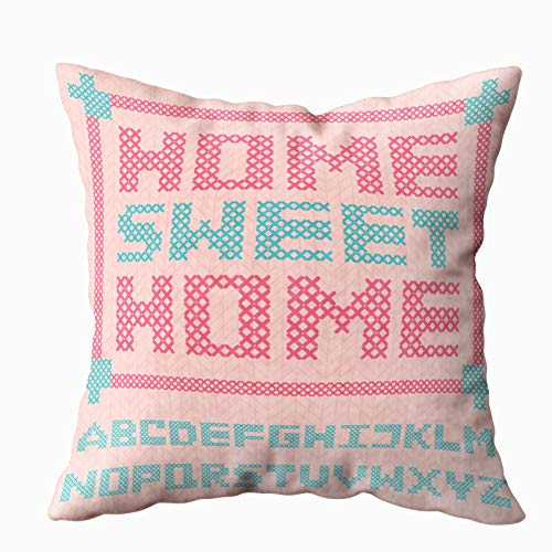 (KIOAO 20x20 Pillow Case, Standard 20X20Inch Soft Square Throw Pillowcase Covers Alphabet Capital Letters Embroidered Cross Imitation Knitted Pink Sweater Texture Background Printed with Both Sides)