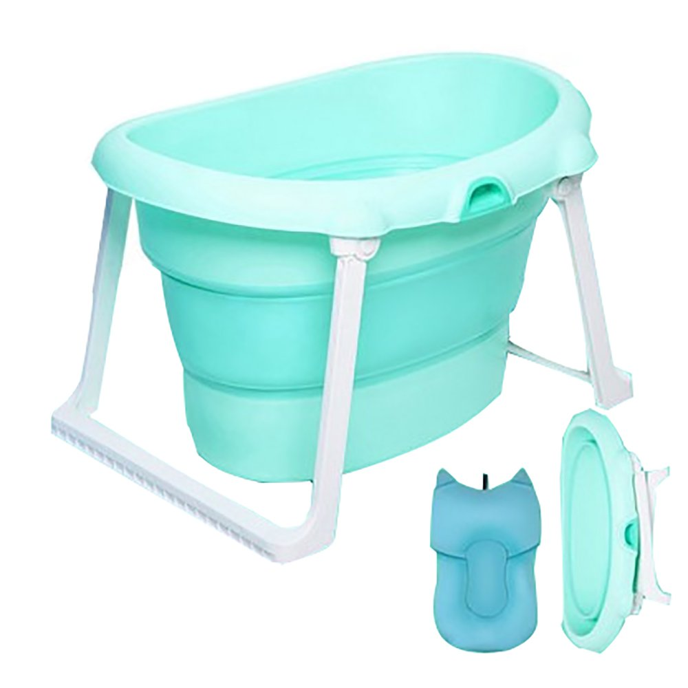 Children's Bath Bucket Collapsible Baby Bath Tub Can Sit Lie Bath Baby Bath Queen Tub Seat Cushion Armrests Blue/Pink XUE