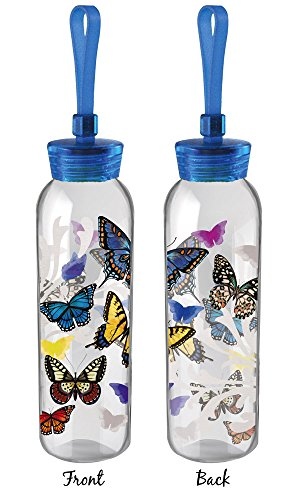 Cypress Home Flight of The Butterflies Double Sided Decal Glass Water Bottle, 18 Ounces
