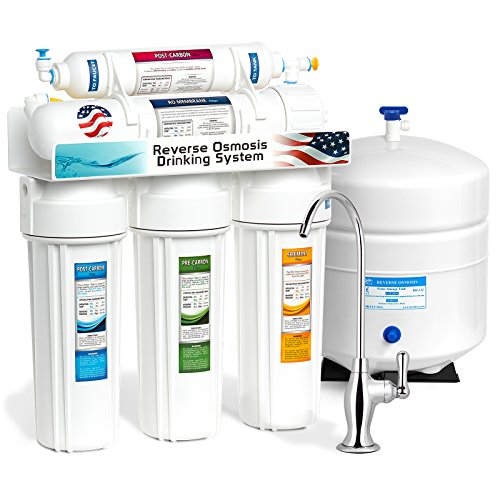 Express Water 5 Stage Home Drinking Reverse Osmosis Water Filtration System 50 GPD RO Membrane Filter - Deluxe Chrome Faucet - Ultra Safe Residential Under Sink Water Purification - One Year Warranty