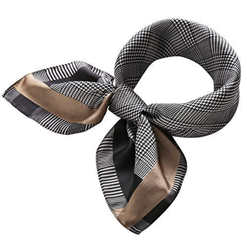 RIIQIICHY Women's 27.12'' Silk Satin Square Plaid Print Hair Head Scarf Neckerchief