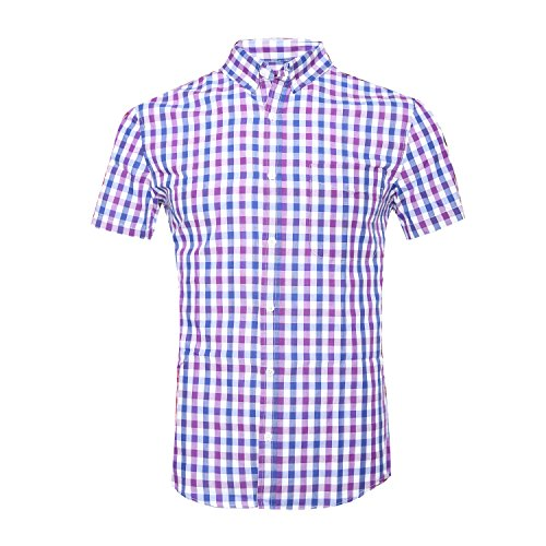 GILBETI Men's Casual Plaid Short Sleeve Button Down Shirts Blue&Purple M