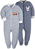 Baby Boys'2 Pack Footed Sleeper Yarn-Dyed Striped Baby Pajamas Set (Blue Dog/Grey Car, 18-24 Months)