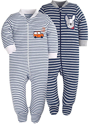 Set Footed (SHENGWEN Baby Boys'2 Pack Footed Sleeper Yarn-Dyed Striped Baby Pajamas Set (Blue Dog/Grey Car, 12-18 Months))