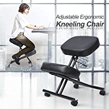 LCH Ergonomic Leather Kneeling Chair - Adjustable Stool with Thick Double Padded Cushions For Home and Office