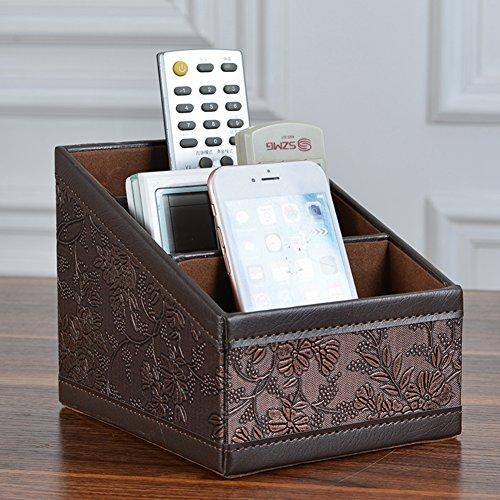 Maggift PU leather Remote Control Holder,3 Slot Remote Control Organizer Brown Photo #2