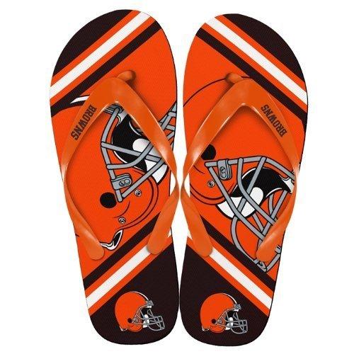 Flip Flops Team (NFL Football Team Big Logo Unisex Flip Flop Beach Sandals - Choose Team (Cleveland Browns, Large (11-12)))