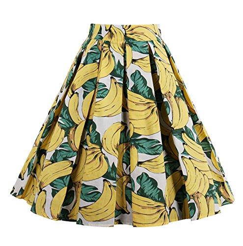 Killreal Women's Summer Vivid Banana Print Pleated Casual Skater Skirt White XX-Large