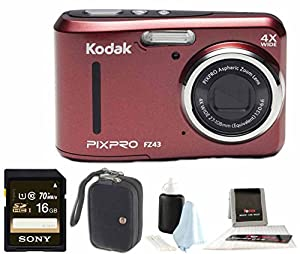 Kodak PIXPRO Friendly Zoom FZ43 + Sony 32GB Class 10 70MB/s SDHC + Case
