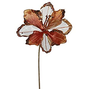 "3PK - 20"" Copper Velvet Amaryllis 9"" Glitter Flower Decorative Christmas Pick 10"