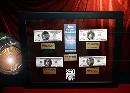 """NOW YOU SEE ME Eisenberg, Franco PROP MONEY, MGM TICKET, UACC COA, BLU DVD Frame + Euro PROP MONEY BUNDLE with 60+ Movie prop BILLS!!!"