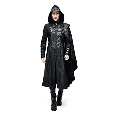 766c07a9f6f Steampunk Gothic Men Hooded Jacket Coats Punk Fashion Long Trench Cloak Coat  (S