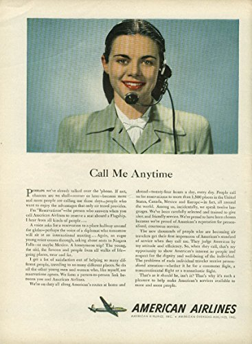 Call Me Anytime American Airlines Reservations Agent Ad 1947 Ny