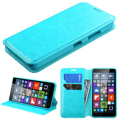 Microsoft Lumia 640 LTE Nokia Case - Wydan (TM) Credit Card Leather Wallet Style Case Cover for Microsoft Lumia 640 LTE Nokia - Blue w/Wydan Stylus Pen