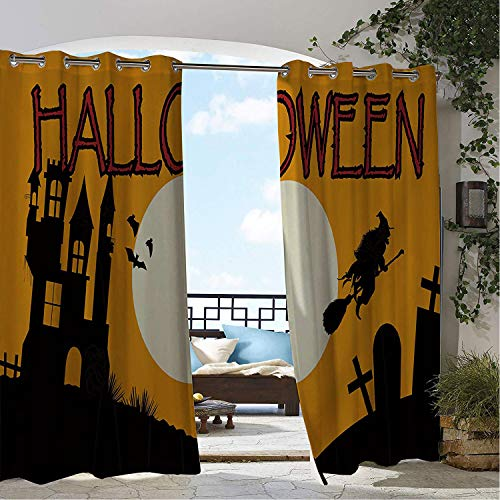 Linhomedecor Gazebo Waterproof Curtains Halloween Witch Castle Tombstone