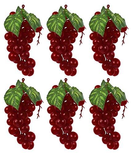 Set of 6 Red/Purple Faux Artificial Grape Bunches Each Bunch Measures 7
