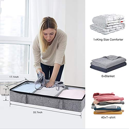 Under Bed Storage Vailando Adjustable Dividers Storage Organizer With Sturdy Structure, For Clothes Blankets Shoes 2 Pack