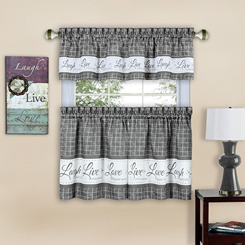 """Achim Home Furnishings Achim Home Imports Live, Love, Laugh Window Curtain, Tier Pair And Valance Set 58"""" x 36"""", Grey"""