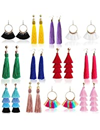 12 Pairs Tassel Earrings Layered Long Thread Ball Dangle Earrings Bohemian Tiered Tassel Drop Earrings Fashion Jewelry for Women Girls Valentine Birthday Party Gifts