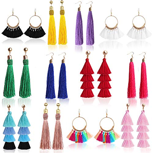 Outee 12 Pairs Tassel Earrings Layered Long Thread Ball Dangle Earrings Bohemian Tiered Tassel Drop Earrings Fashion Jewelry for Women Girls Valentine Birthday Party Gifts