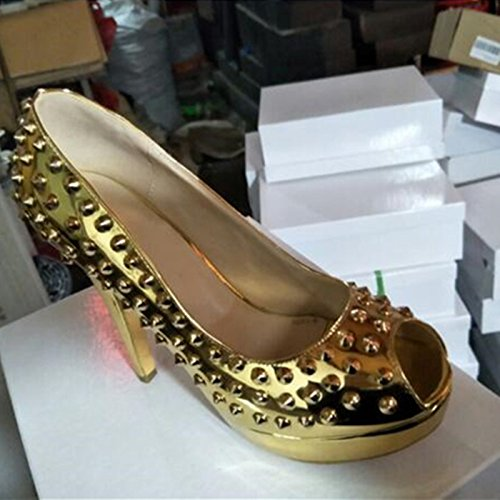 Peep High Pumps Toe Shoes 34 Leather Beautiful Shoes 5 VIVIOO Gold 5 Size Cm Fashion Rivets Gold 12 45 Sandals Shoes Prom Heeled w6acwTqxvZ