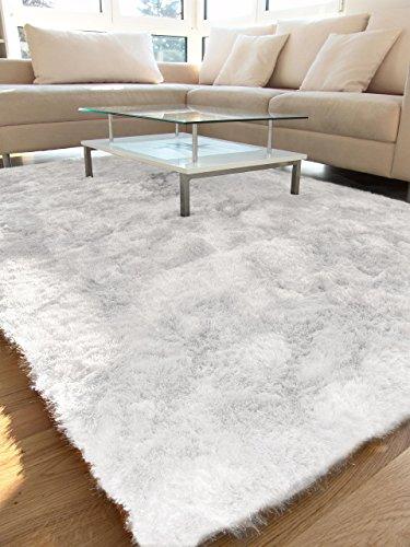 benuta Teppiche: Hochflor Teppich Whisper Quadratisch Weiß 60x60 cm - schadstofffrei - 100% Polyester - Uni - Handgetufted - Wohnzimmer