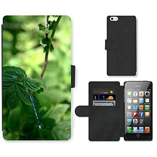 Just Phone Cases PU Leather Flip Custodia Protettiva Case Cover per // M00127305 Dragonfly Horseshoe-Azure de demoiselle // Apple iPhone 5 5S 5G