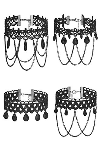 4 Pcs Set Pack Gothic Choker Necklaces Lace Goth Draped Chains Tassels For Women (Costume Halloween Facile)