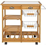 Premade Kitchen Island Rolling Wooden Kitchen Island Storage Utility Cart Dining Trolley With Drawers Storage Basket Slatted Shelves Wine Racks Towel Rack, Pinewood And Stainless Steel Material