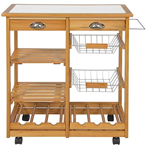Rolling Wooden Kitchen Island Drawers Utensils Storage Organizer Basket Shelves 6 Bottles Wine Racks Towel Rack Utility Cart Dining Trolley Real Pine Wood Material