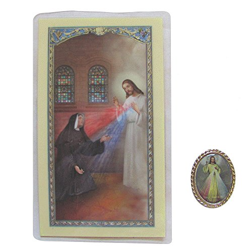 (Divine Mercy Medal or Pocket Token with a Blessed By Pope Free 3 Oclock Prayer Holy Card)