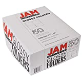 JAM PAPER Laminated Two Pocket Glossy Folders - White - Bulk 50/Box