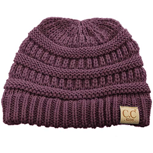 Kids Ages 2-7 Warm Chunky Thick Stretchy Knit Slouch Beanie Skull Hat Violet