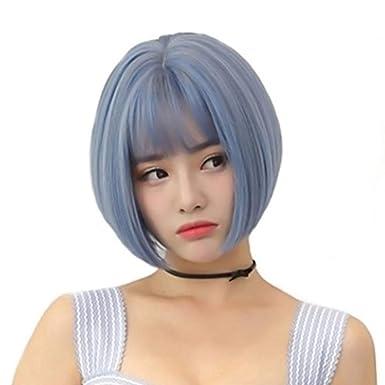 Zgfjf Korea Perücke Weibliches Kurzes Haar Graue Blaue Luft